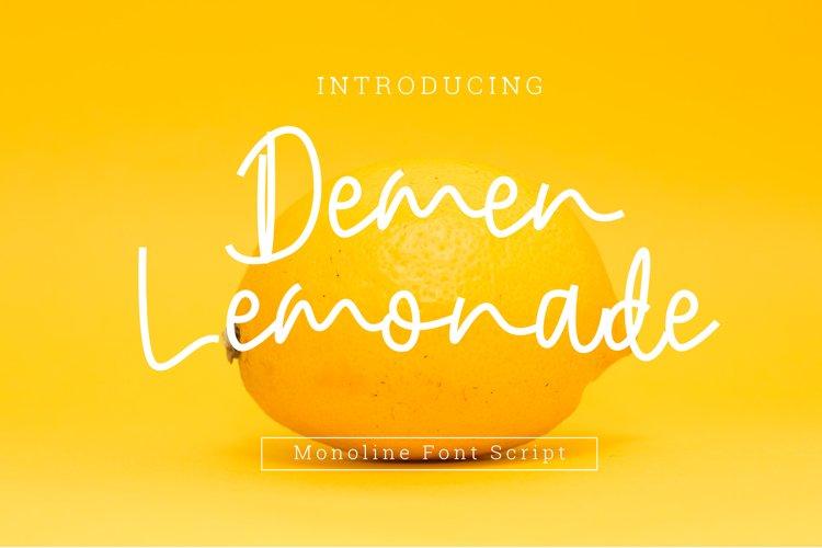 Demen Lemonade Monoline Font Script example image 1