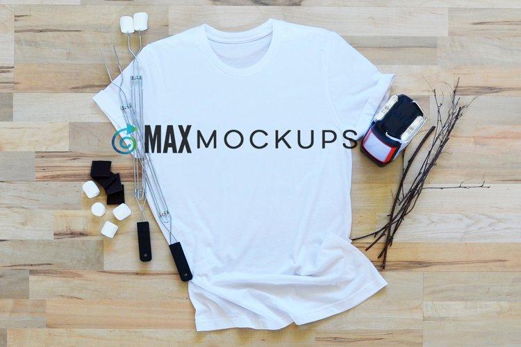 White Shirt Mockup, Camping and Smores Flatlay Photography
