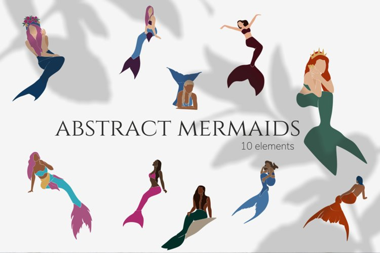 Abstract mermaids, vector illustration, magical creatures example image 1