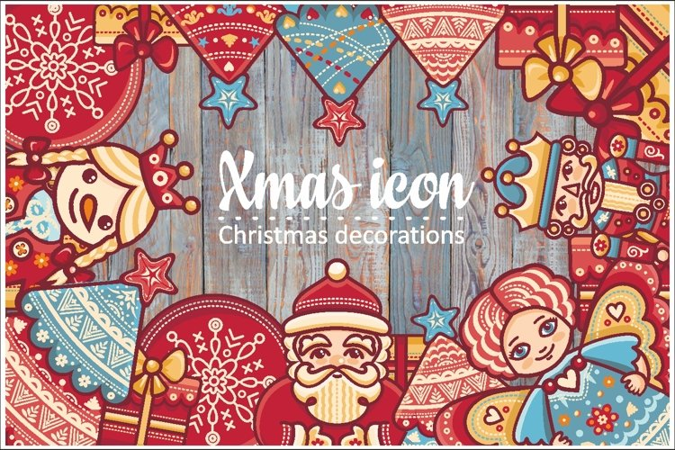 Christmas decorations.Xmas characters & decorative elements.