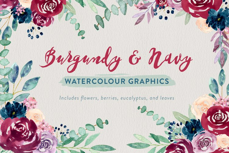 Burgundy and Navy Watercolour Flowers example image 1