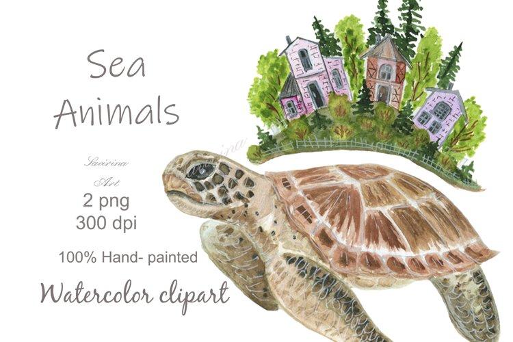 Watercolor Clip art Turtle, Cute Sea Animal print
