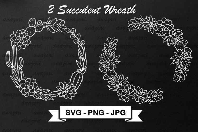 Cactus Wreath SVG Cut File - Succulent Frame SVG example image 1