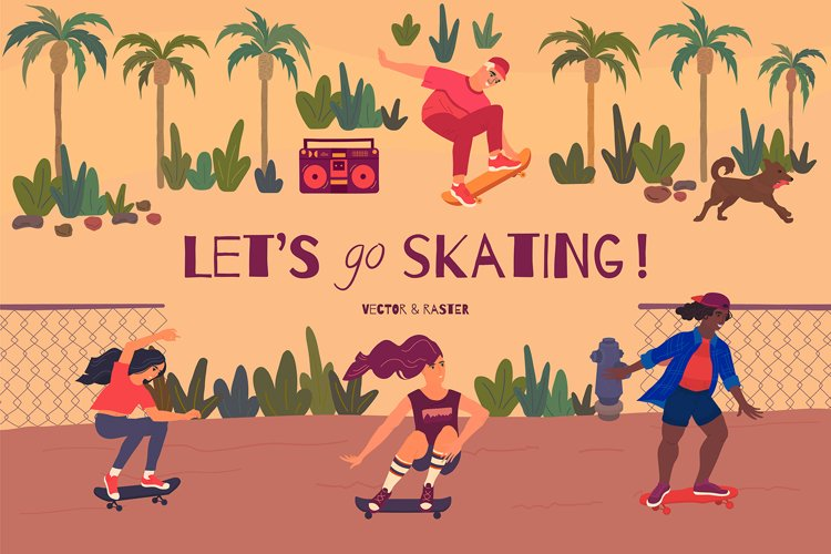 Skateboarding clipart with teenagers