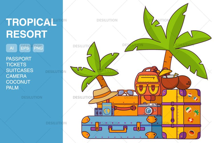 Tropical vacation luggage bags.