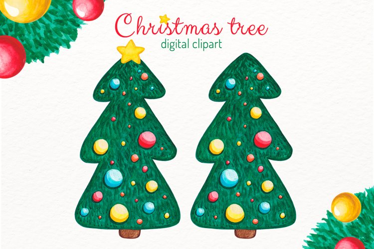 Christmas tree clipart Watercolor Pine tree with decorations example image 1