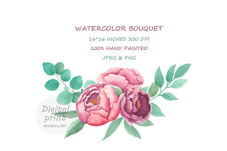 Pink Watercolor Bouquet Peony. Boho Clipart. Vintage Floral