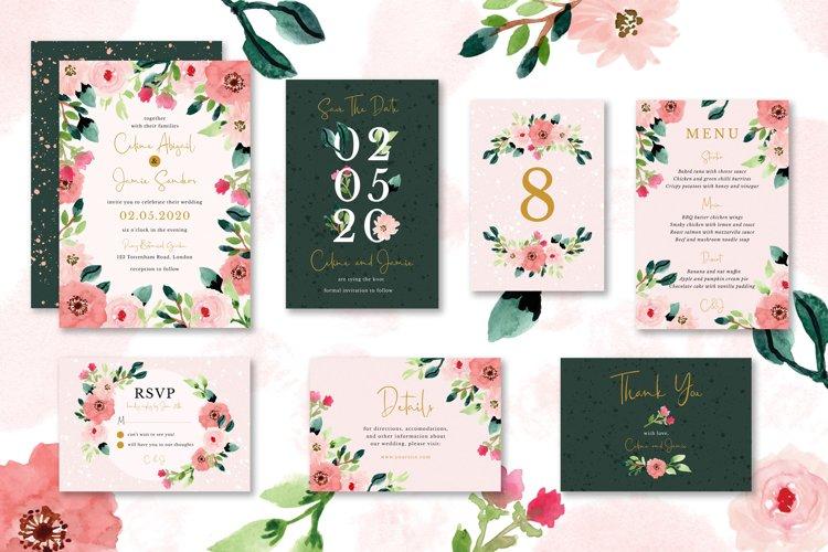 Sweet Floral Wedding Invitation Set example image 1