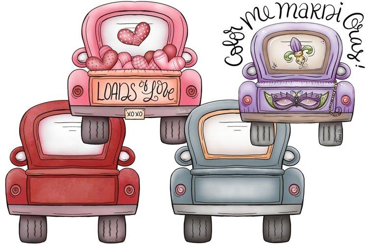 XL12 inch Valentines Day, Mardi Gras, Red, & Blue Trucks