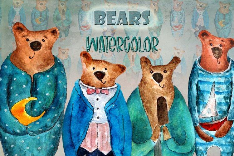 Set of watercolor bears example