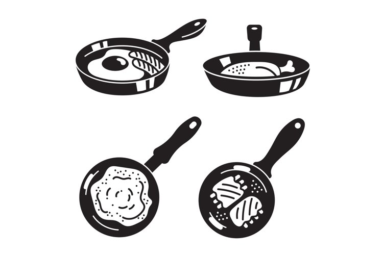 Kitchen griddle icon set, simple style example image 1