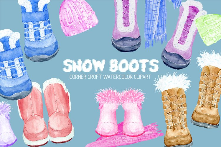 Watercolor snow boots clipart