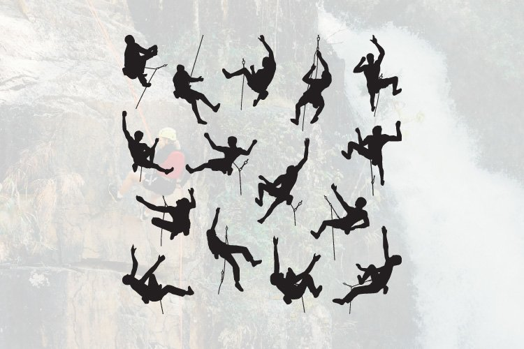 15 Climber Climbing Cliff Silhouette Set example image 1