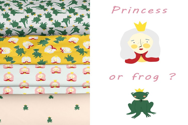 Cute princess-frogs from fairy-tale. 4 seamless patterns