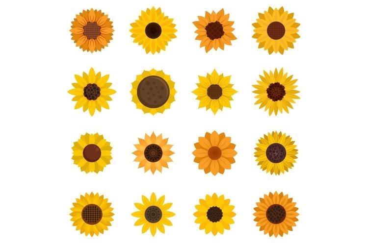 Sunflower icons set, flat style example image 1