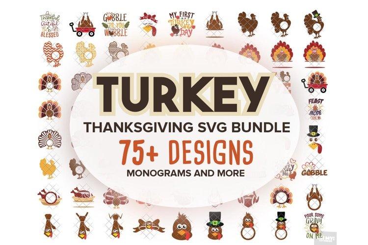 Turkey SVG Monogram Thanksgiving in SVG, DXF, PNG, EPS, JPEG