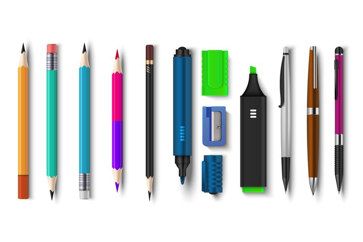 Realistic pen and pencils. 3D school and office supplies, br example image 1