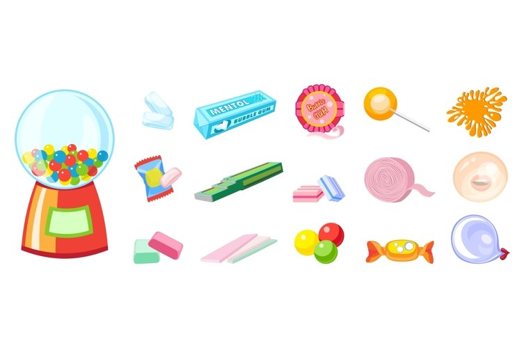Gum icons set, cartoon style example image 1