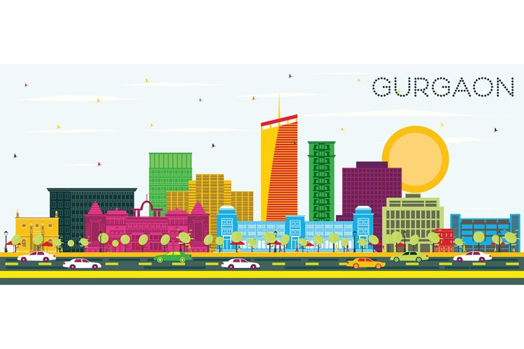 Gurgaon India City Skyline with Color Buildings and Blue Sky example image 1