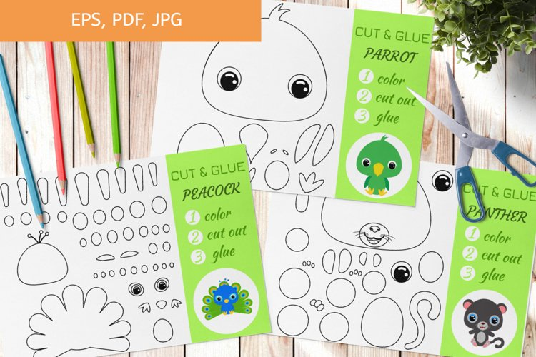 Cut and Glue Games for Kids, Coloring pages - Cut and Paste example image 1