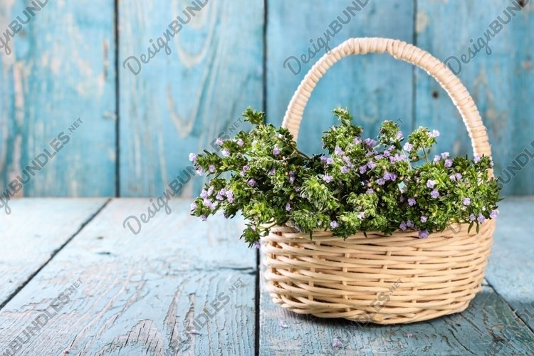 Fresh thyme in a basket over blue rustic wooden table. example image 1