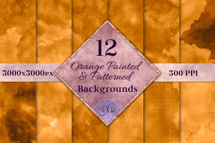 Orange Painted and Patterned Backgrounds - 12 Image Textures example image 1