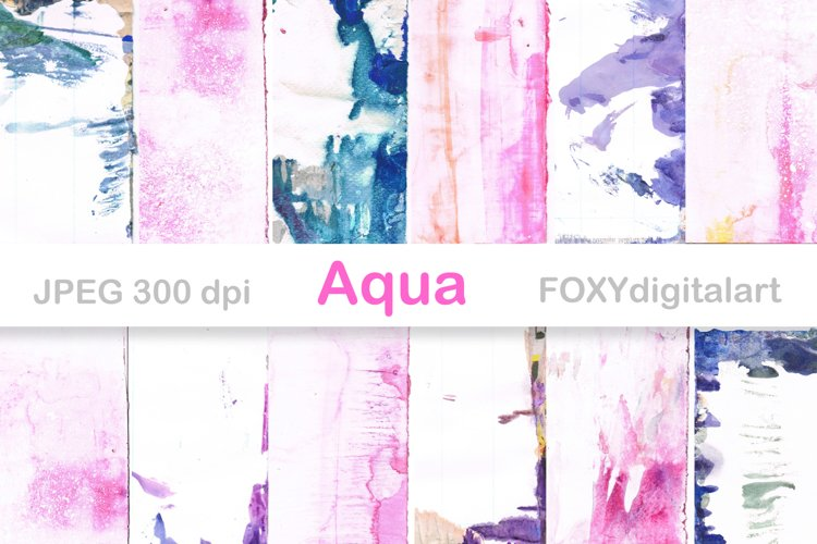 Watercolor Digital Paper Brush Strokes Paint Splatters example image 1