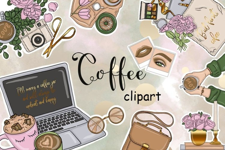 Coffee CLIPART Party Planner Latte Fashion Illustration PNG