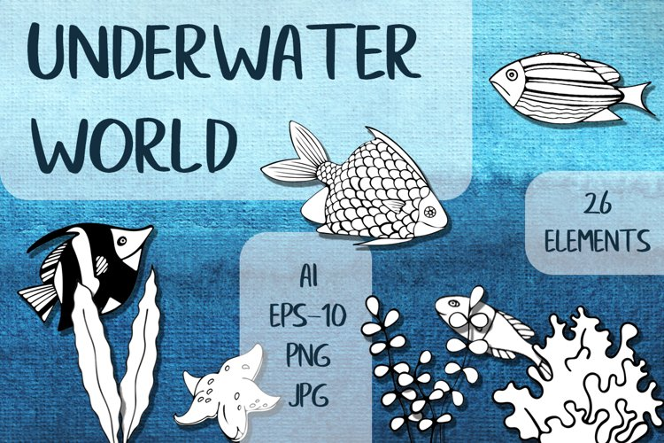 Black And White Underwater World PNG