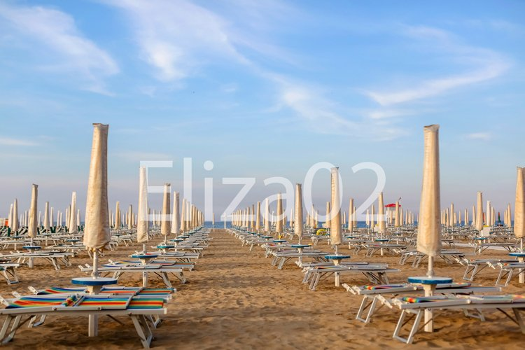 summer beach, of people with sun beds in Italy Rimini example image 1