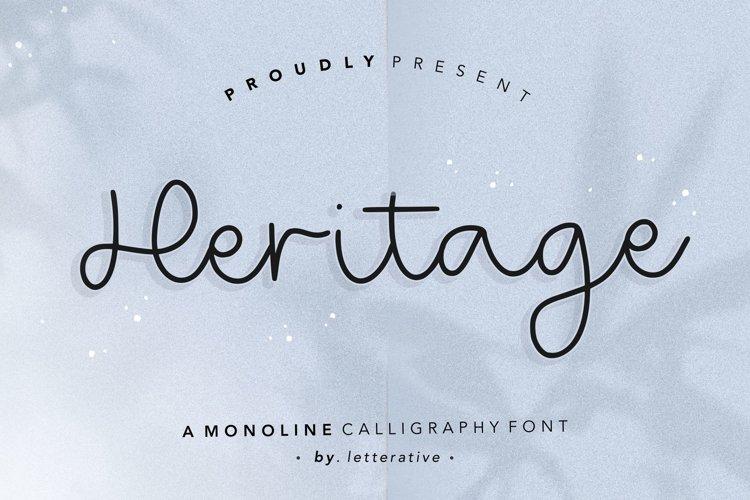 Heritage Monoline Calligraphy Font example image 1
