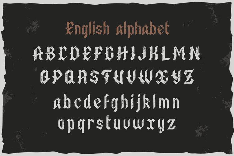 Old Biker. Gothic style vintage label font. example 2