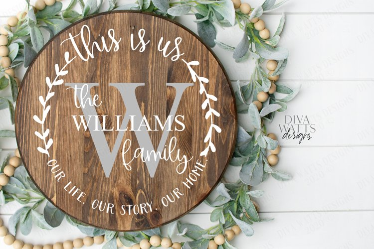 This Is Us Monogram Last Name Round Wreath Sign SVG DXF EPS example image 1
