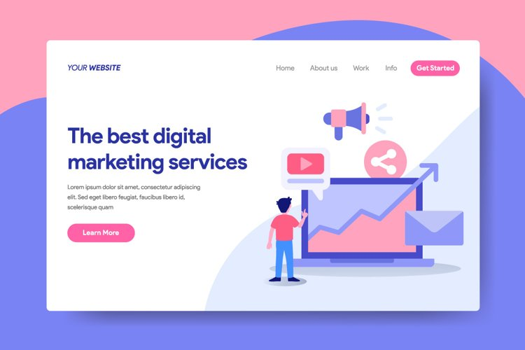 Landing page template of Digital Marketing Services Concept example image 1