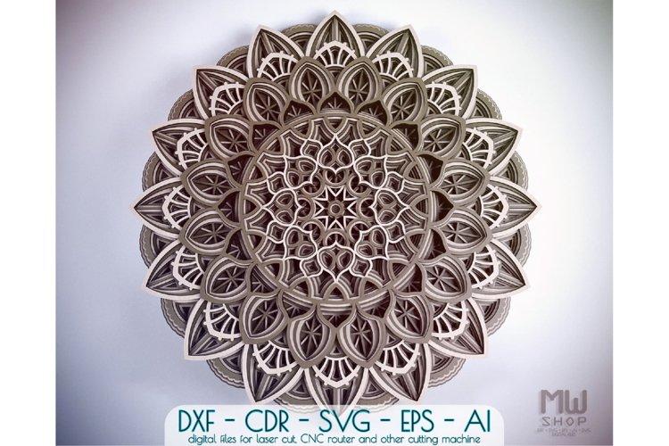 M58 - Flower Mandala DXF file, Multilayer Mandala Pattern