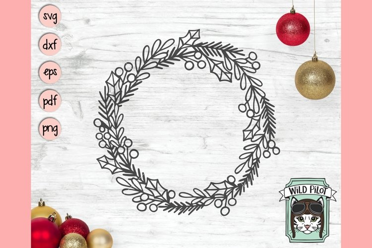 Christmas Monogram Frame SVG Cut File, Christmas Wreath SVG