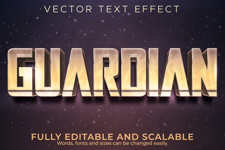 Editable text effect, cinematic guardian star wars text styl