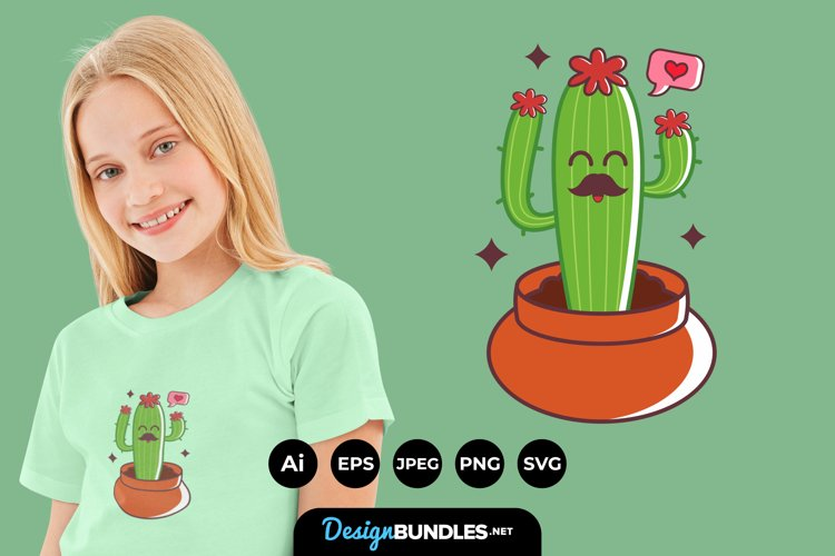 Cute Cactus Illustrations for T-Shirt Design example image 1