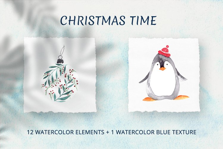 Christmas time. Watercolor elements example image 1