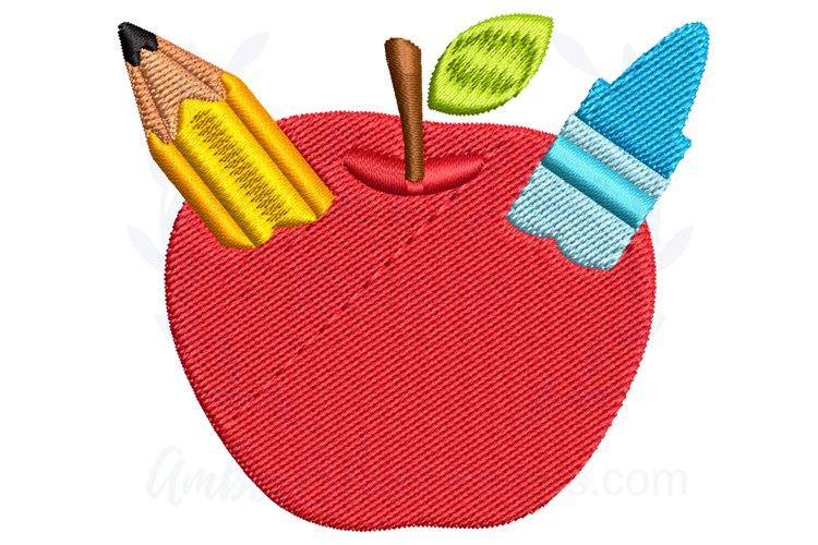 Craft Apple Back to School Embroidery Design example image 1