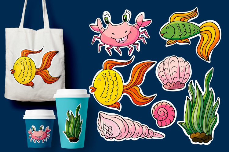 Cartoon characters for cards, flyers, banners. Underwater example image 1