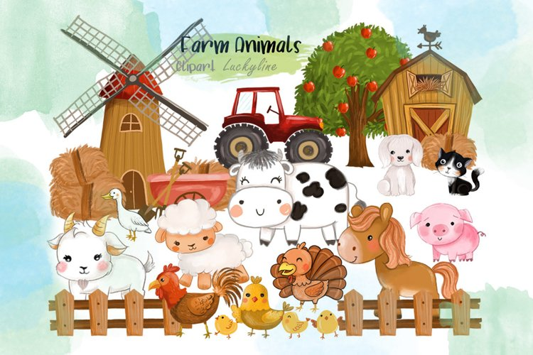 Farm Animals clipart. example image 1