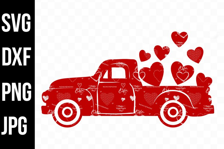 Red Valentine Truck with Hearts and Graffiti svg, dxf, png