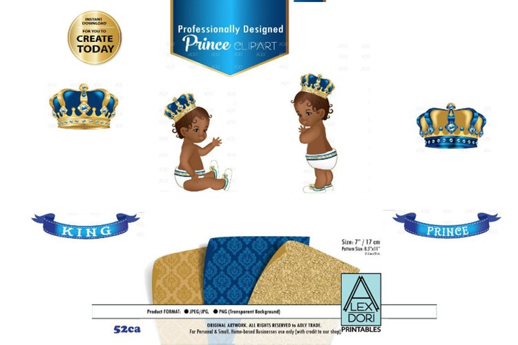Blue and Gold Baby Prince/King Royal Digital Clipart,Crown example image 1