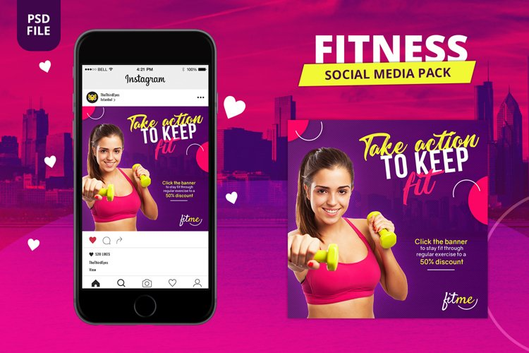 Fitness Social Media Pack example image 1