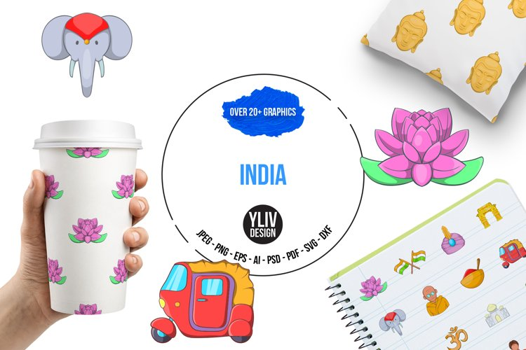 India icons set, cartoon style example image 1