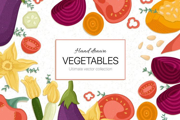 Hand drawn vegetable vector collection example image 1