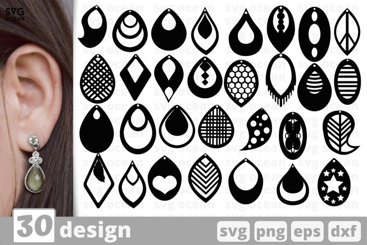Teardrop Earrings SVG Bundle | Earrings template svg