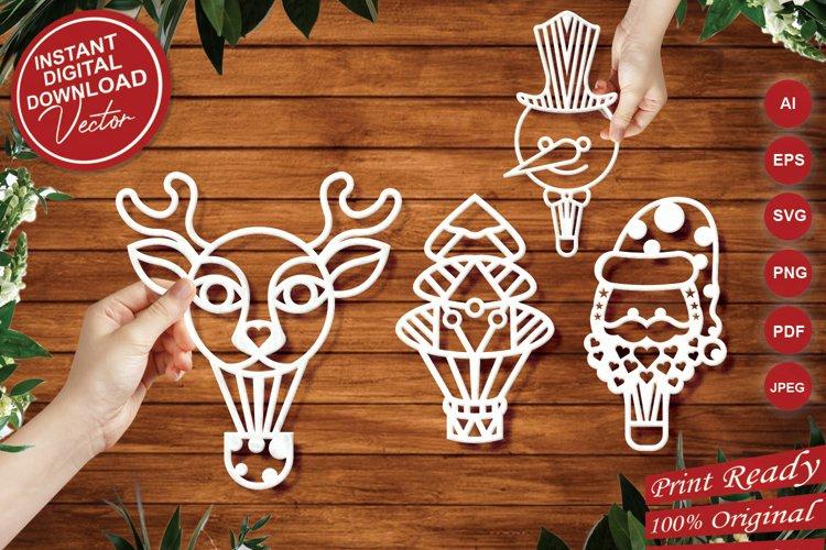Papercut Christmas Air Balloons, Santa, Tree, Snowman Vector example image 1