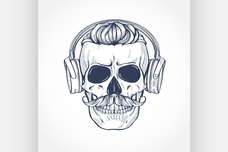 Skull with hairstyle and moustaches example image 1
